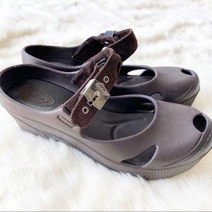 Dr. Scholl's Brown disco rubber wedge heels